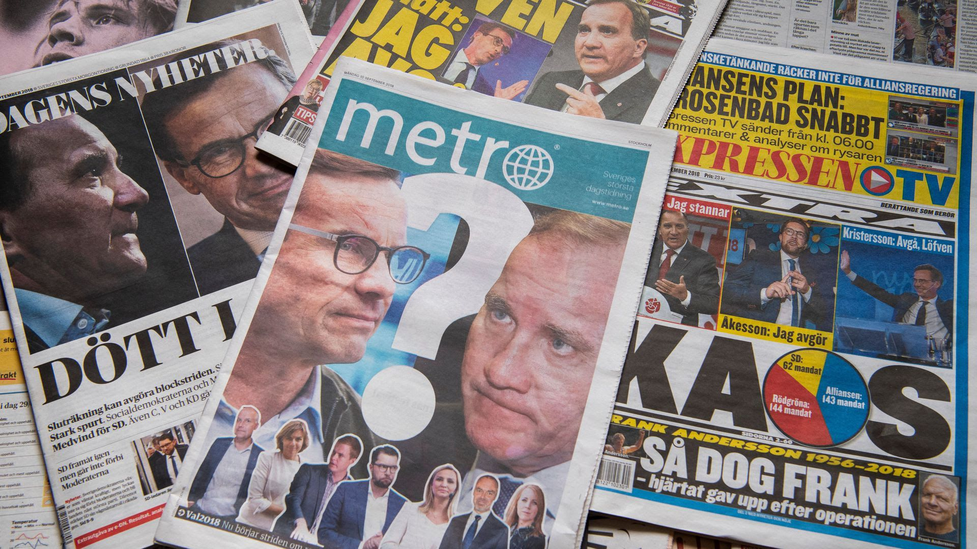 Covers of Swedish magazines about the election