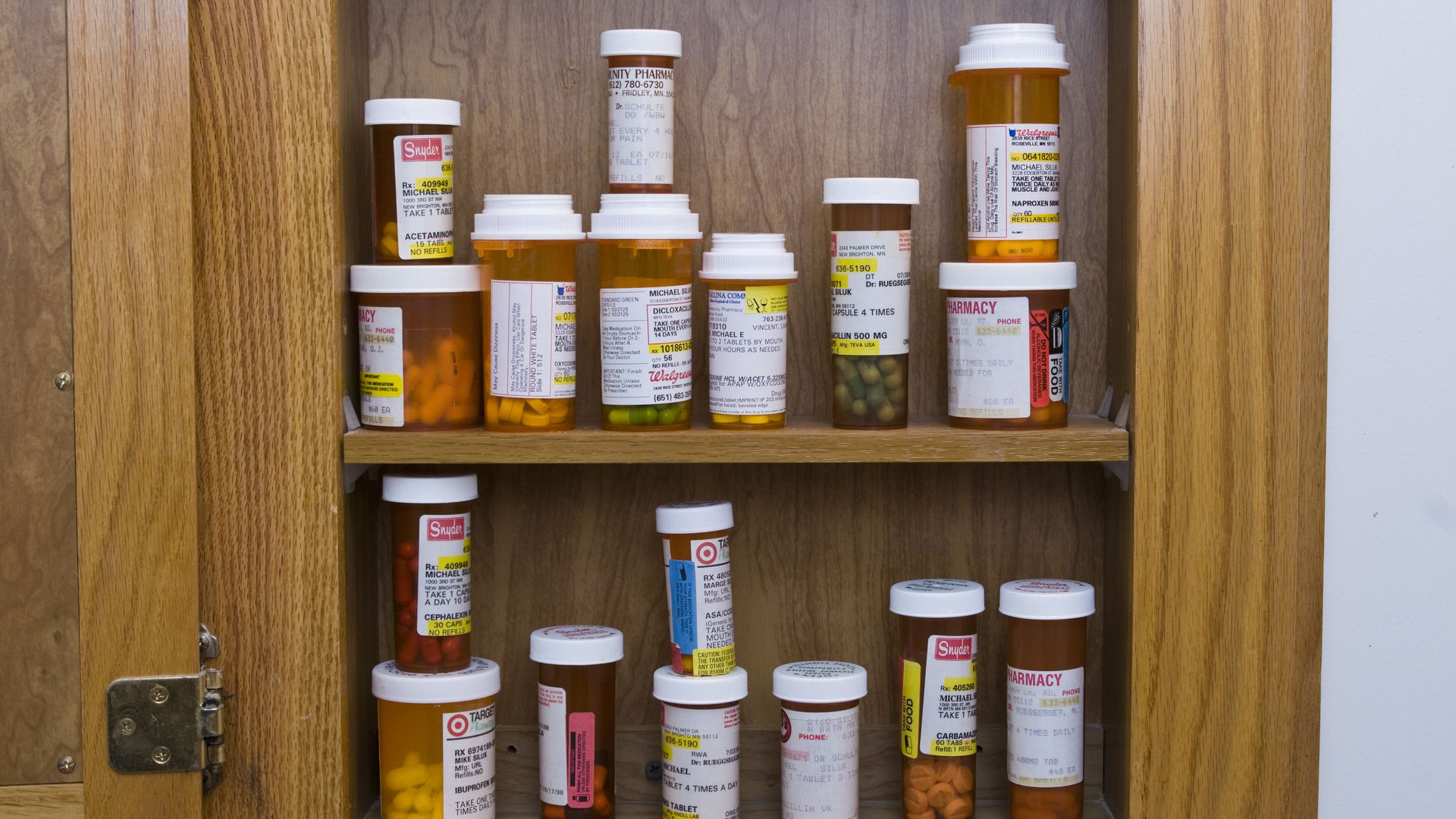 Cabinet full of pills