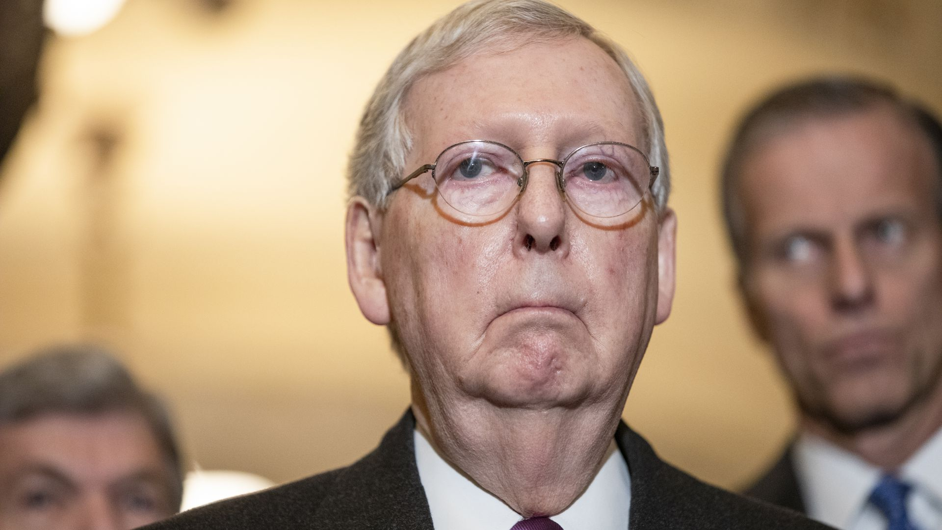 Photo of Mitch McConnell, Senate majority leader, pursing his lips