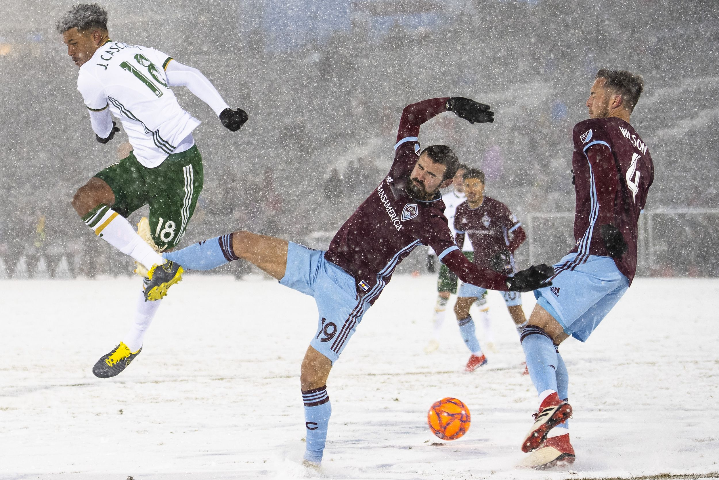 The Portland Timbers and Colorado Rapids in action (in the snow)
