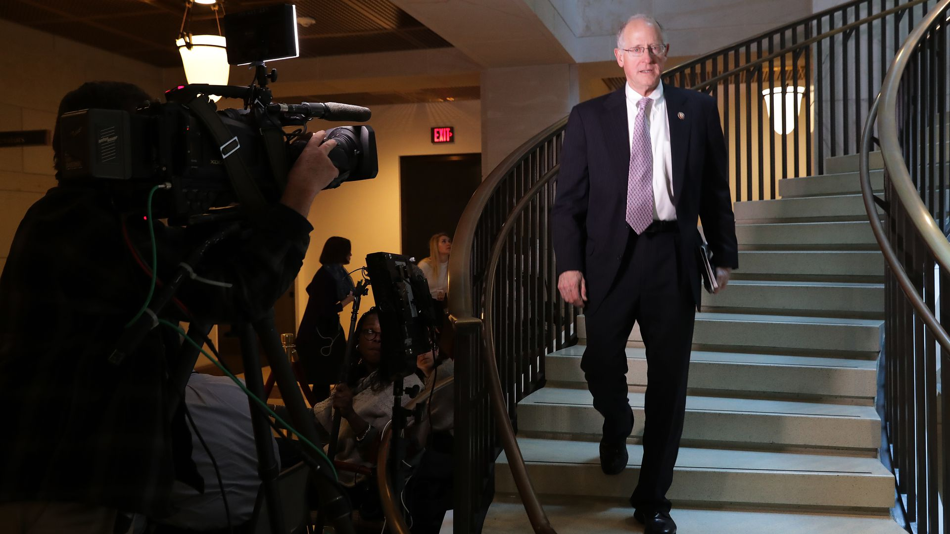 House Intelligence Committee member Rep. Mike Conaway (R-TX) returns to a closed-door hearing