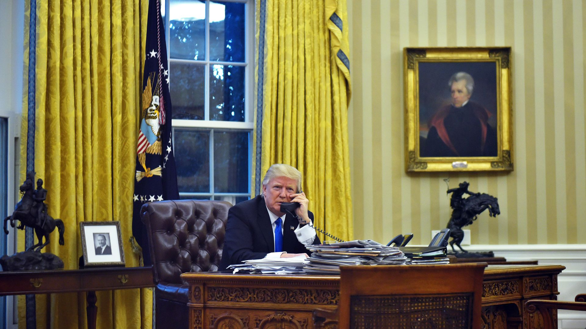 Trump on the phone in the Oval Office