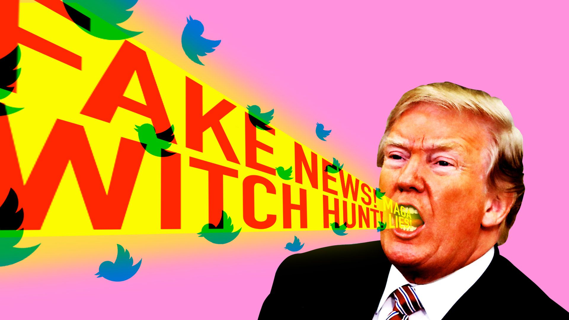 "Trump yelling ""fake news"" and ""witch hunt."""