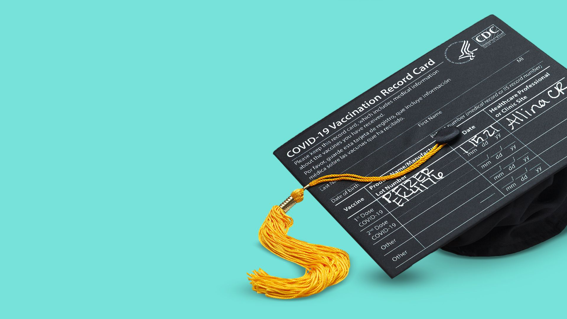 Illustration of a vaccine card as the mortarboard of a graduation cap.