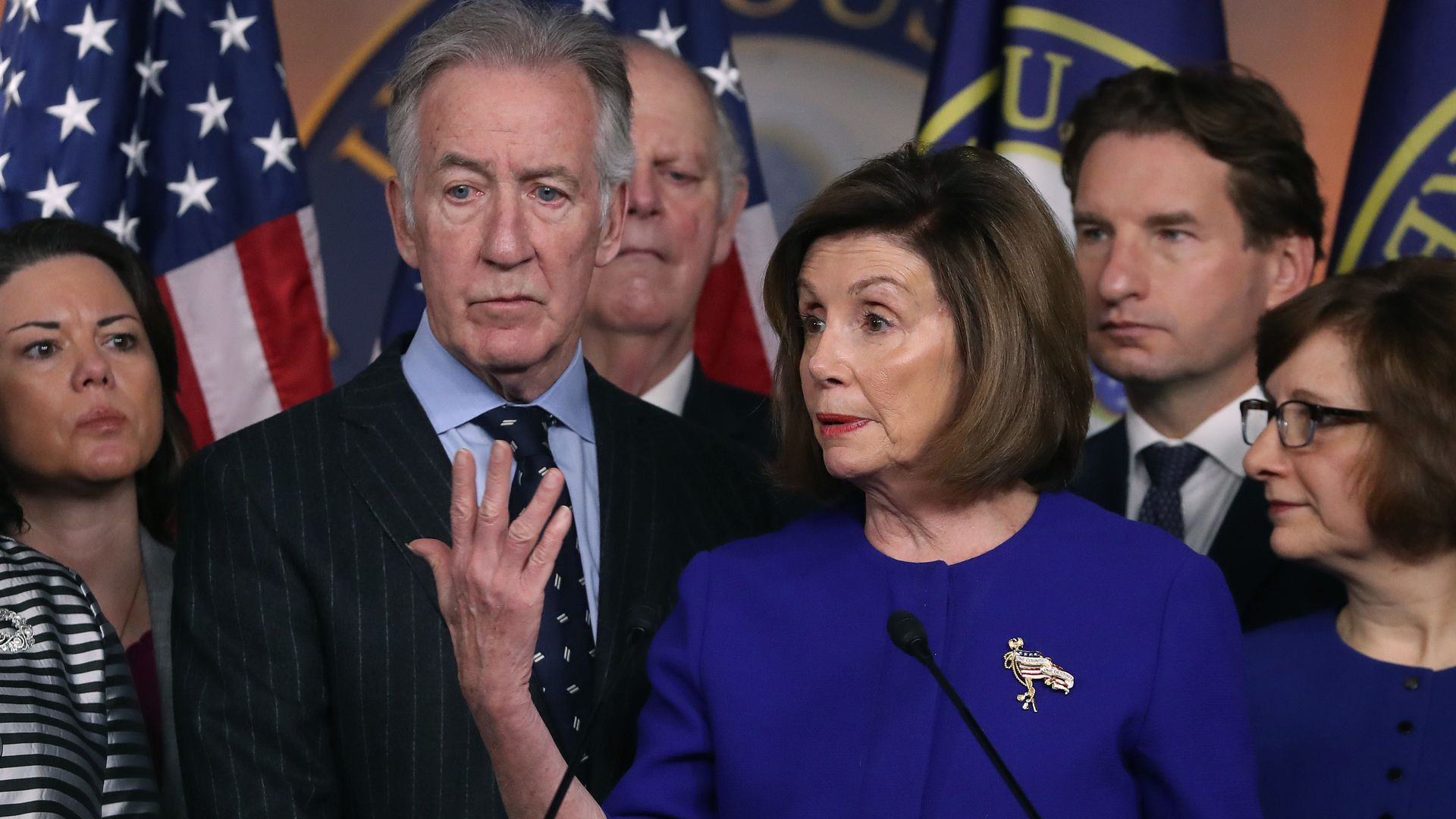 U.S. House Speaker Nancy Pelosi (D-CA) and Ways and Means Committee Chairman Richard E. Neal (D-MA) (L), speak during a news conference on the USMCA trade agreement, on Capitol Hill