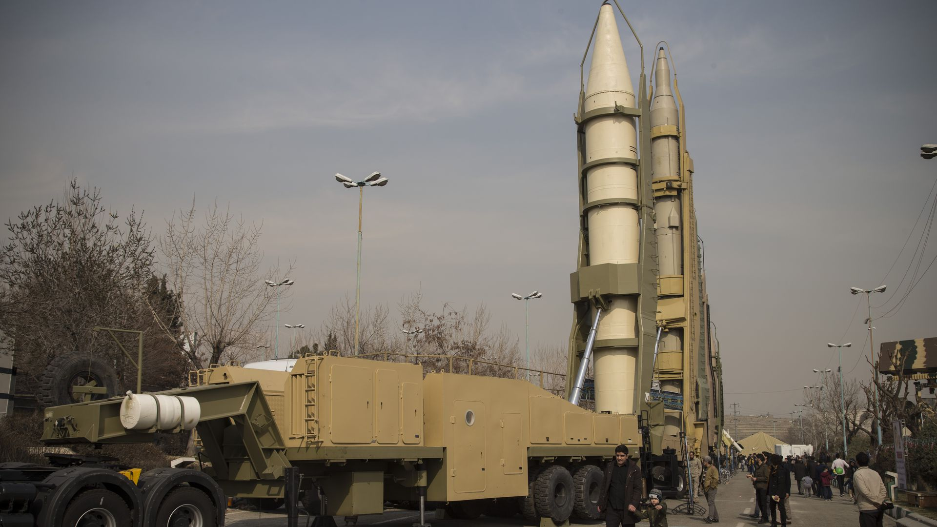 Iranian missiles on display at a military exhibition