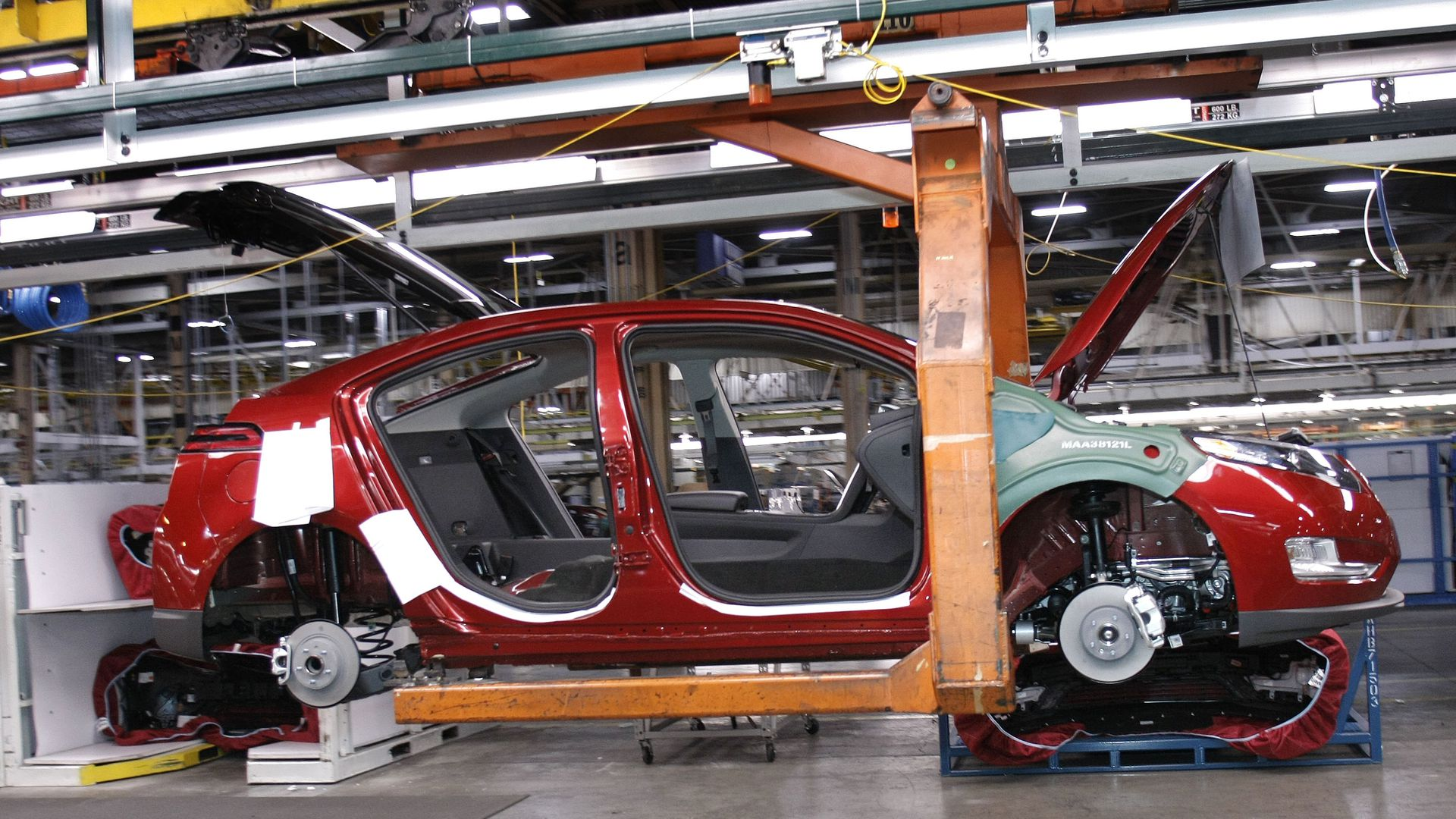 Electric car being manufactured