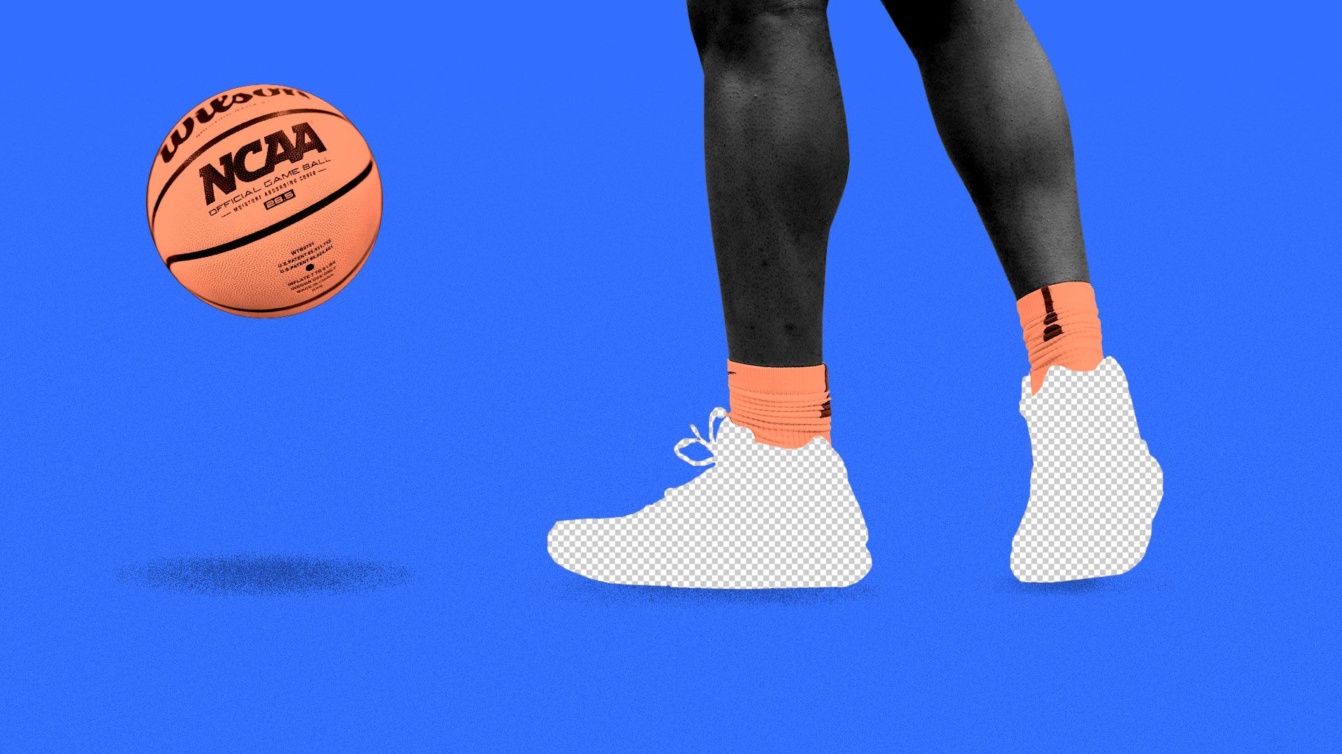 Illustration of Zion Williamson's shoes as empty backgrounds.