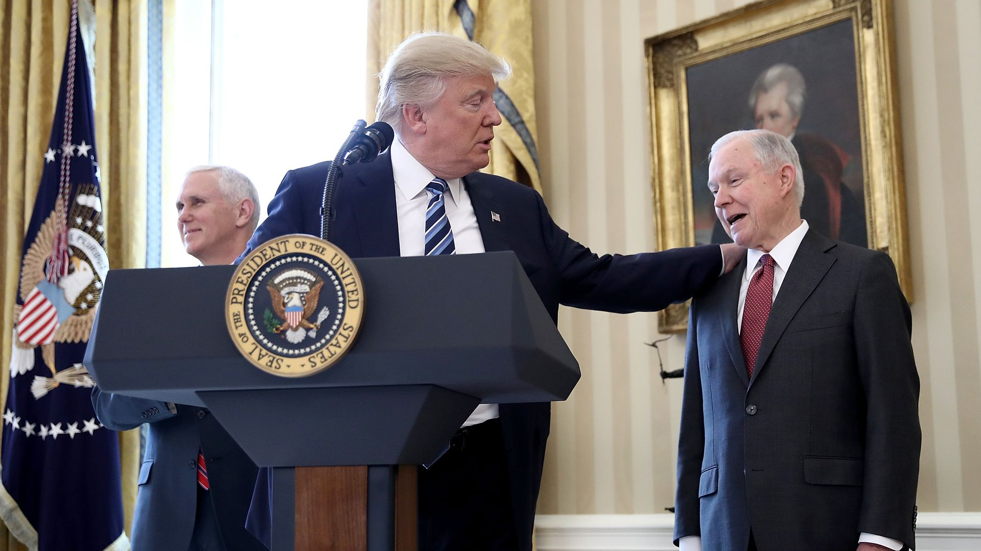 President Donald Trump and Jeff Sessions after before his swearing in ceremony last year. Photo: Win McNamee/Getty Images