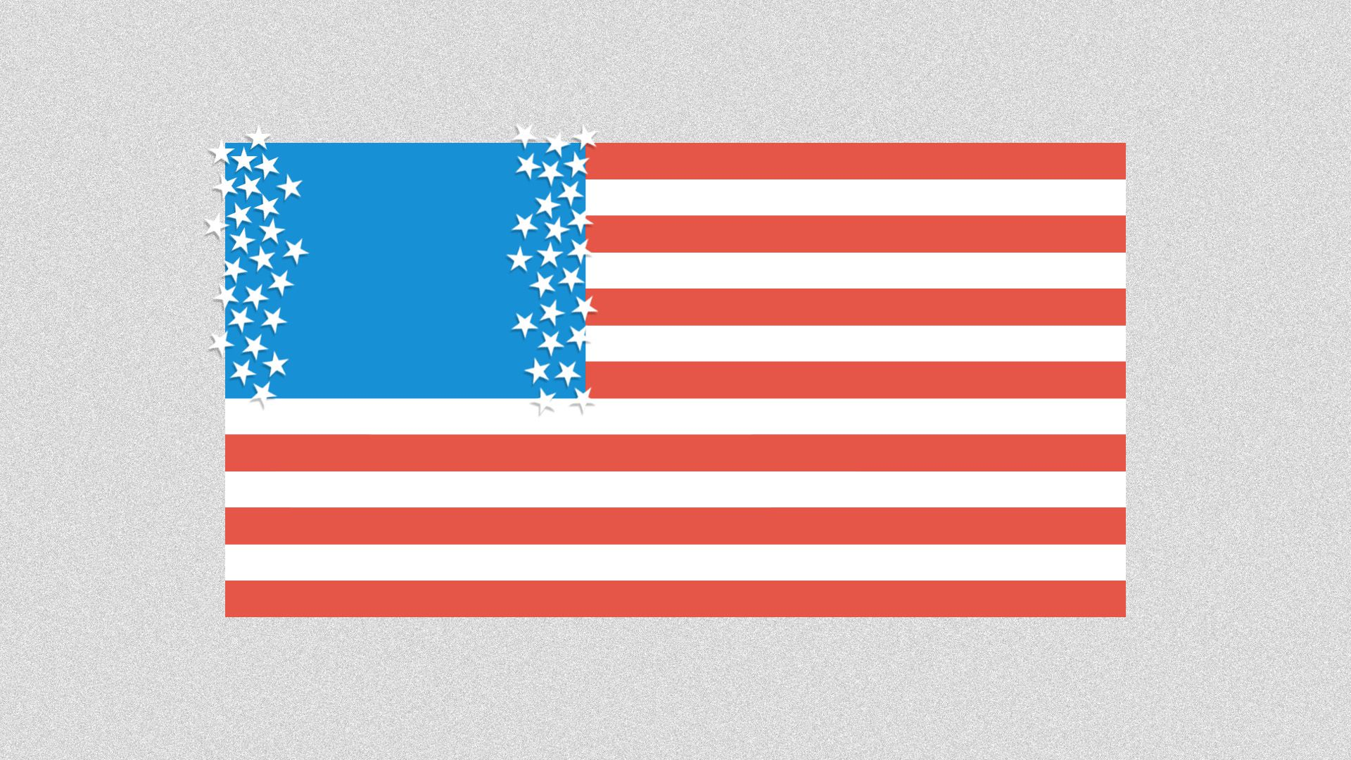 Illustration of American flag with parted stars