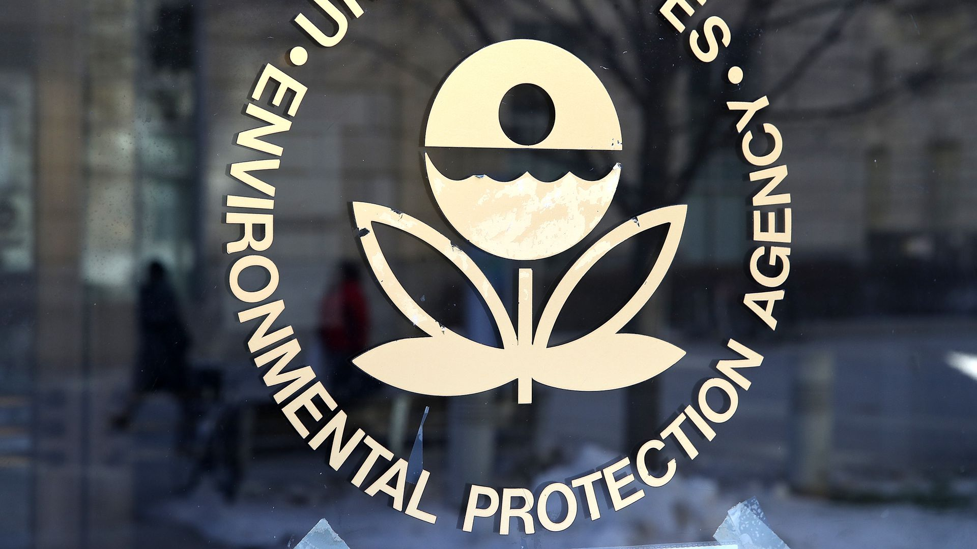 EPA logo on the door of the headquarters
