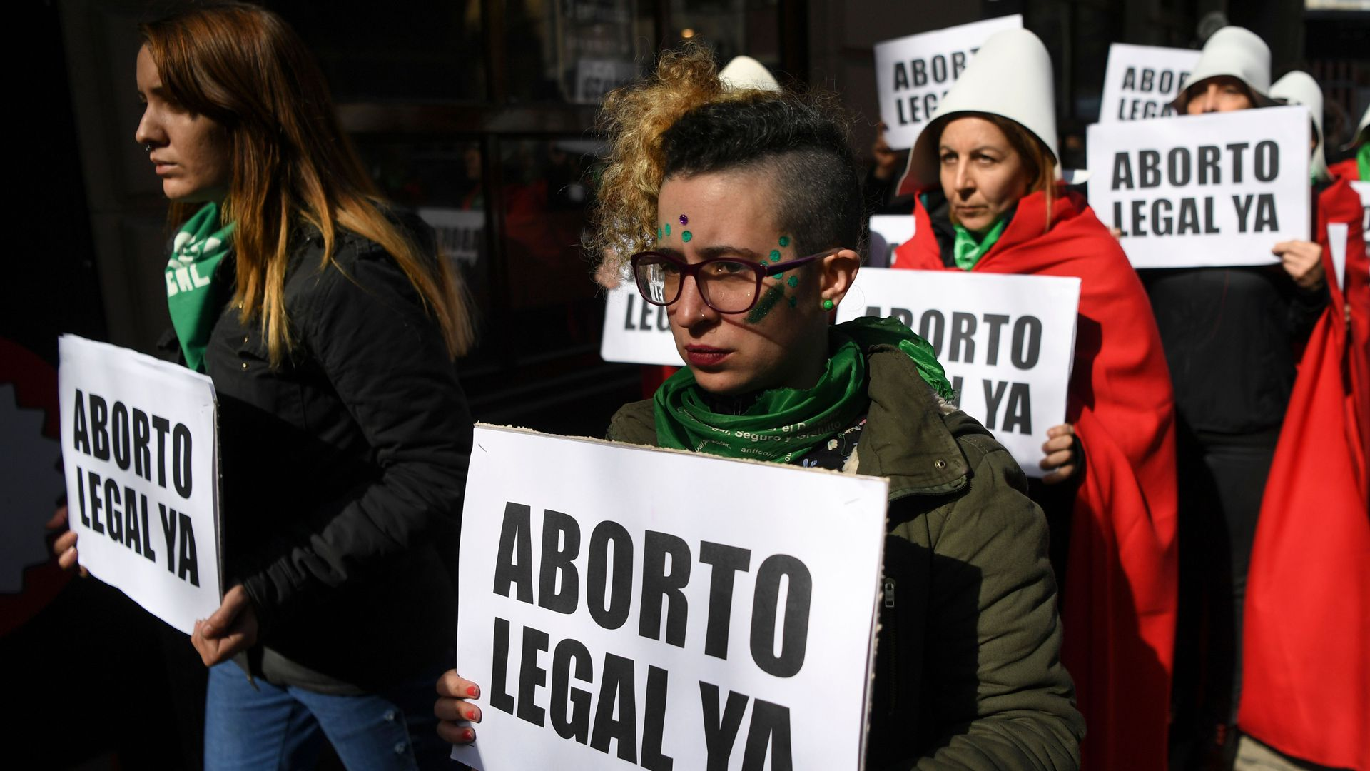 Demonstrators in support of the legalization of abortion outside the National Congress in Buenos Aires. Photo: Eitan Abramovich/AFP/Getty Images