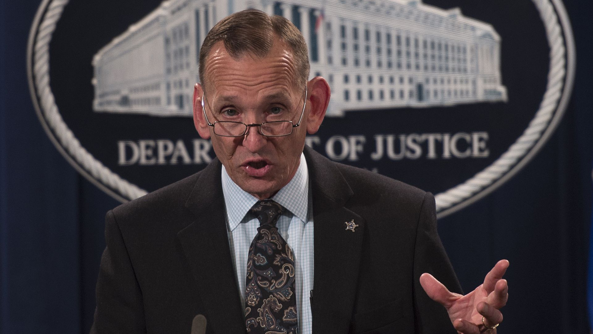 irector of the US Secret Service Randolph Alles speaks during a press conference at the Department of Justice