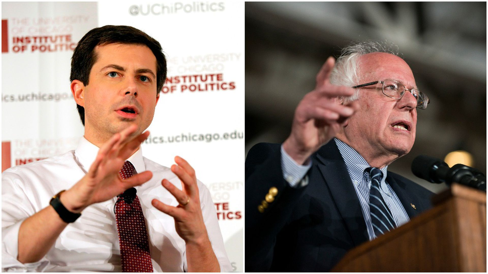 This image is a two-way split screen of Pete Buttigieg and Bernie Sanders