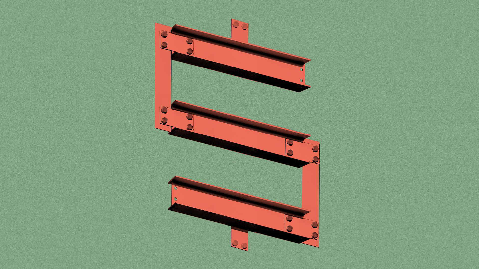 Illustration of a dollar sign made out of girders.