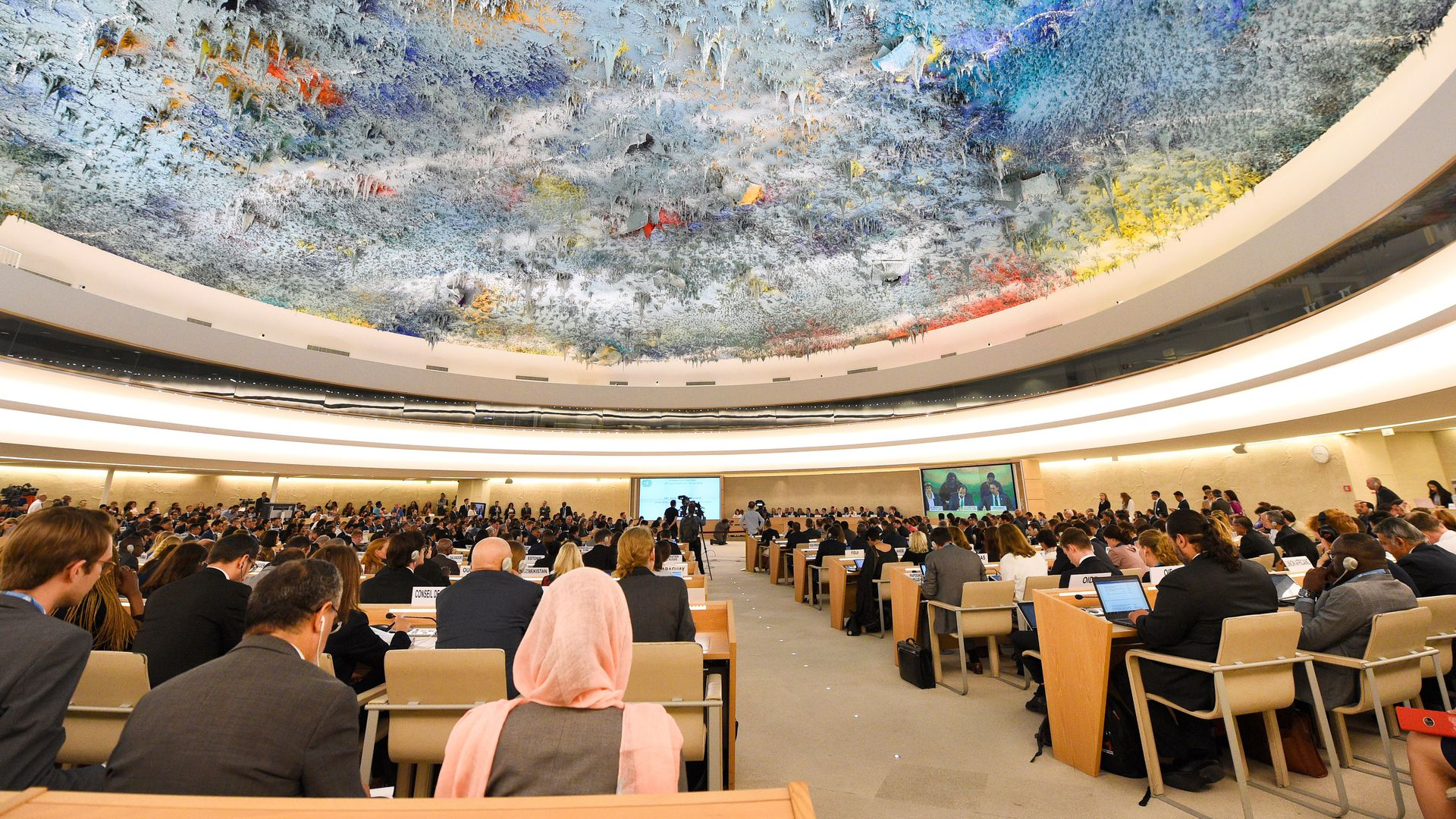 A picture taken on June 18, 2018 in Geneva shows a general view during the opening of the 38th session of the United Nations Human Rights Council.