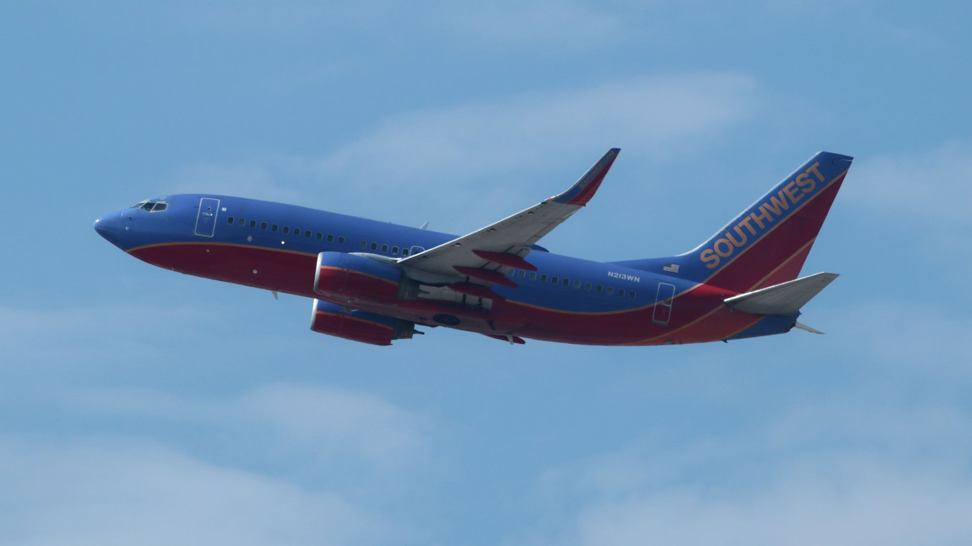 A Southwest Airlines plane in the sky