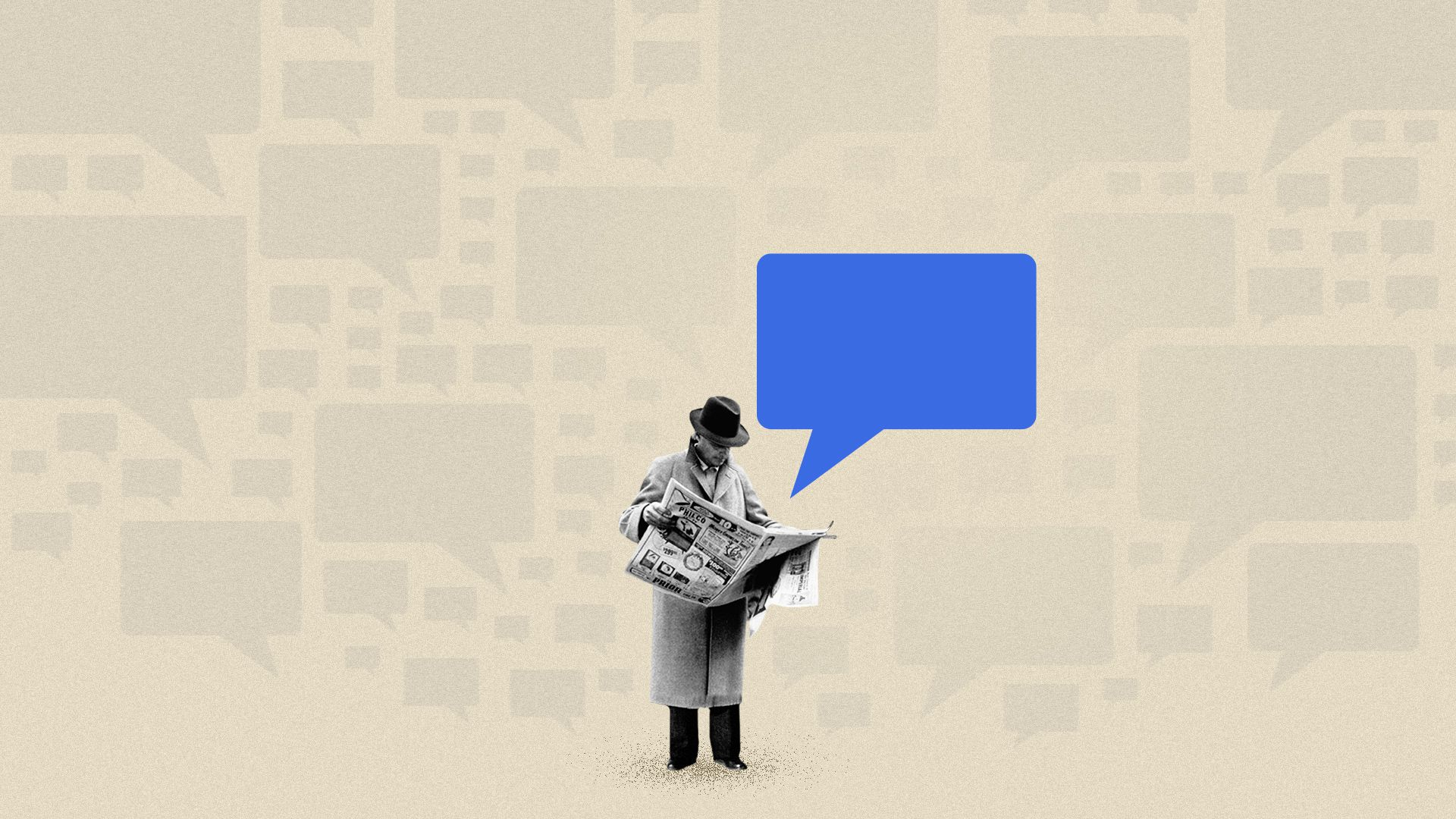 Photo illustration of a man reading a newspaper surrounded by speech bubbles