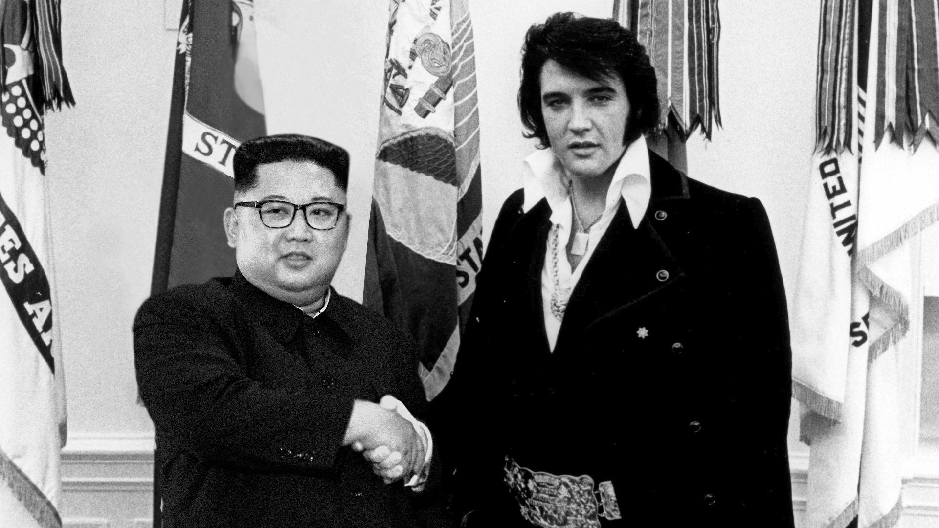 Altered image of Elvis shaking hands with Kim Jong-Un