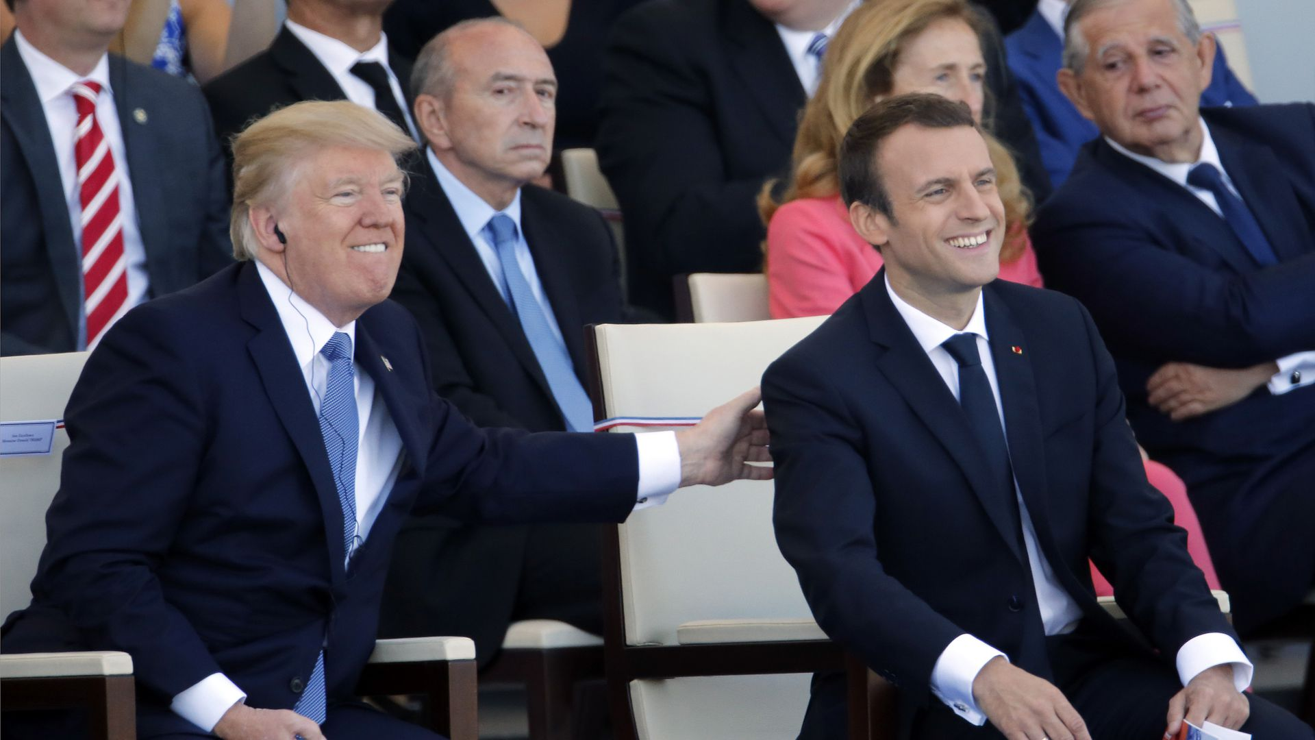 U.S President Donald Trump and French President Emmanuel Macron attend the traditional Bastille day military parade.