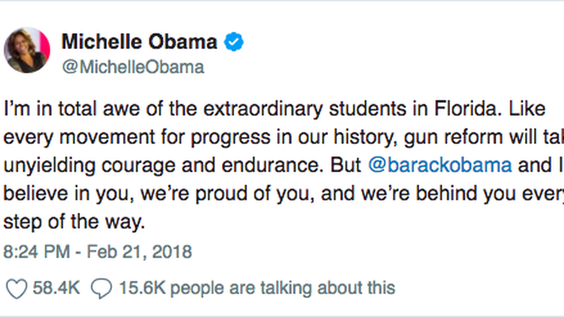 Michelle Obama, Hillary Clinton praise Parkland students