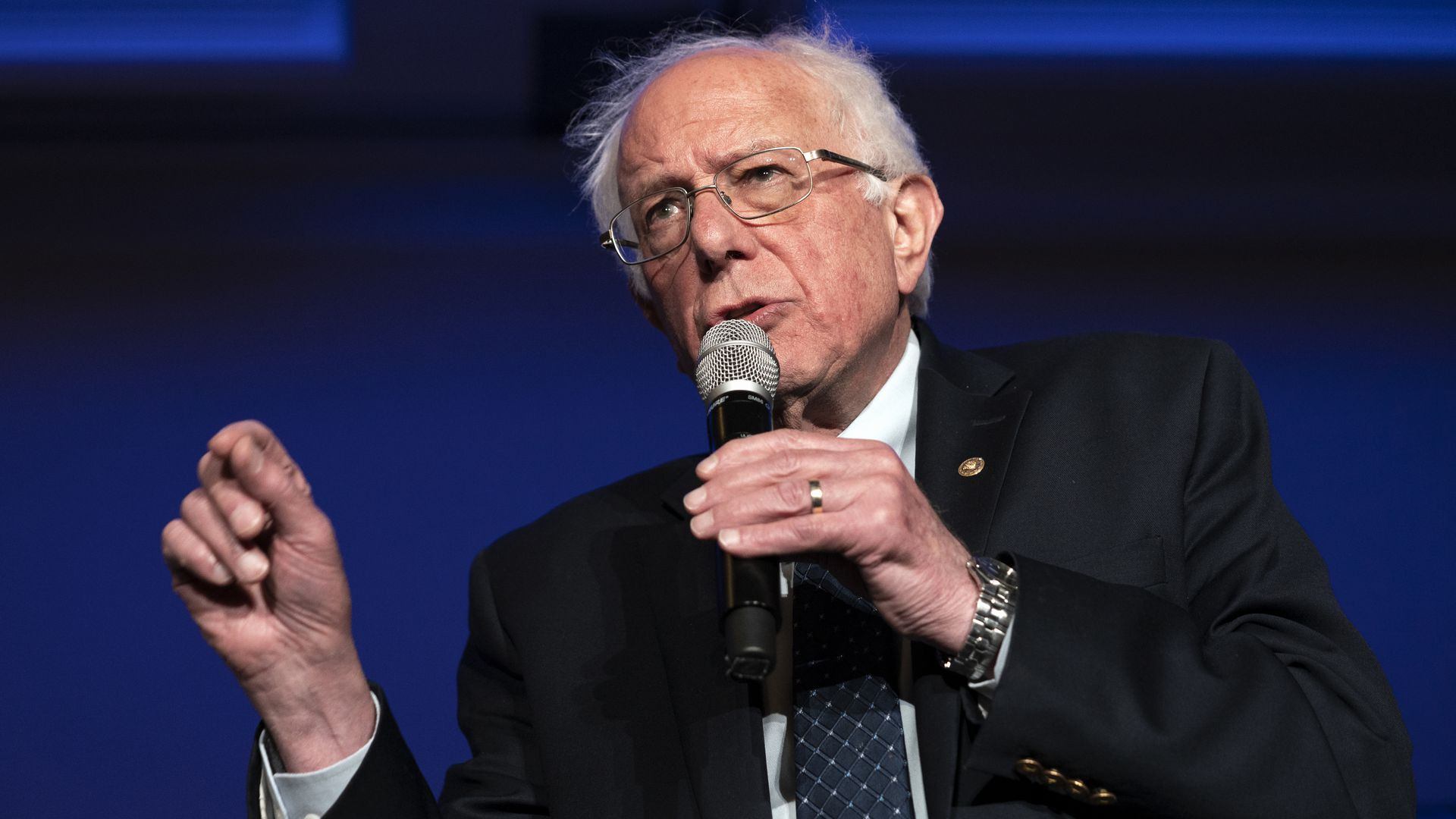 Senator and presidential candidate, Bernie Sanders, speaks while making a gesture during the Unity and Freedom Forum on immigration policy in Pasadena, California.