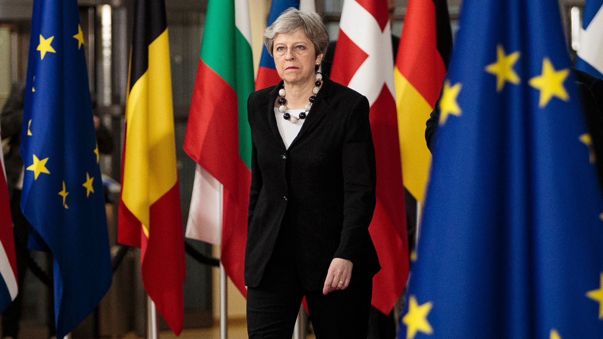 British Prime Minster Theresa May arrives at the Council of the European Union.