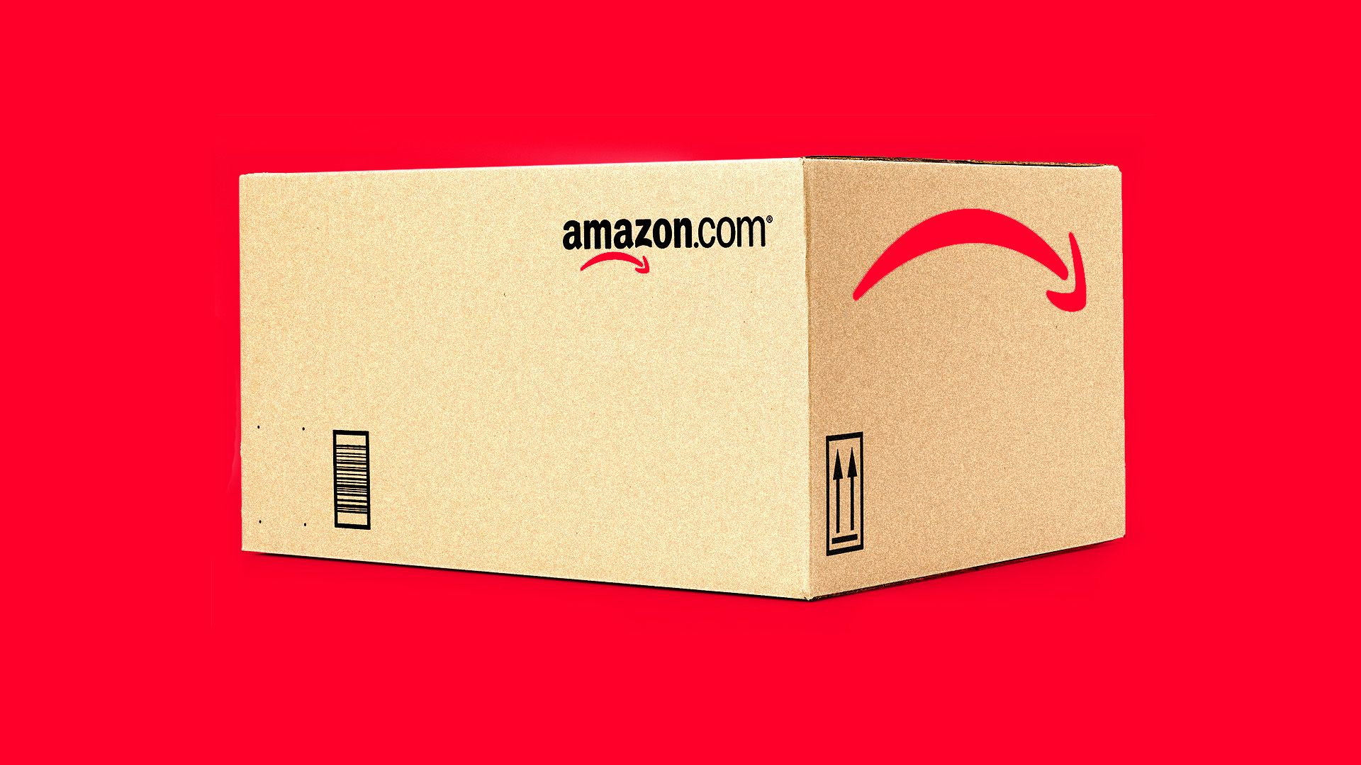 An Amazon box with a red arrow pointing down, against a red backdrop