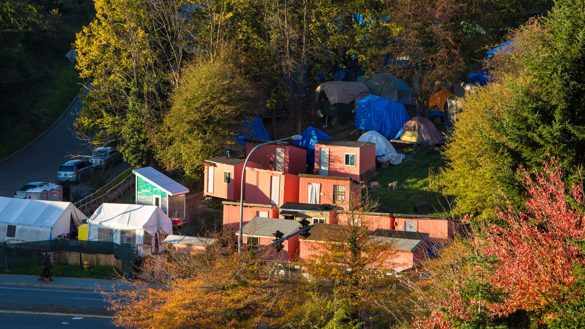 A homeless encampment known as Nickelsville, in Seattle, Washington.