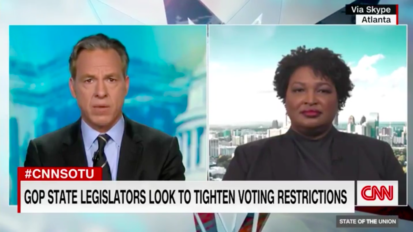 """Stacey Abrams: Georgia bills restricting voting access """"a redux of Jim Crow"""" thumbnail"""