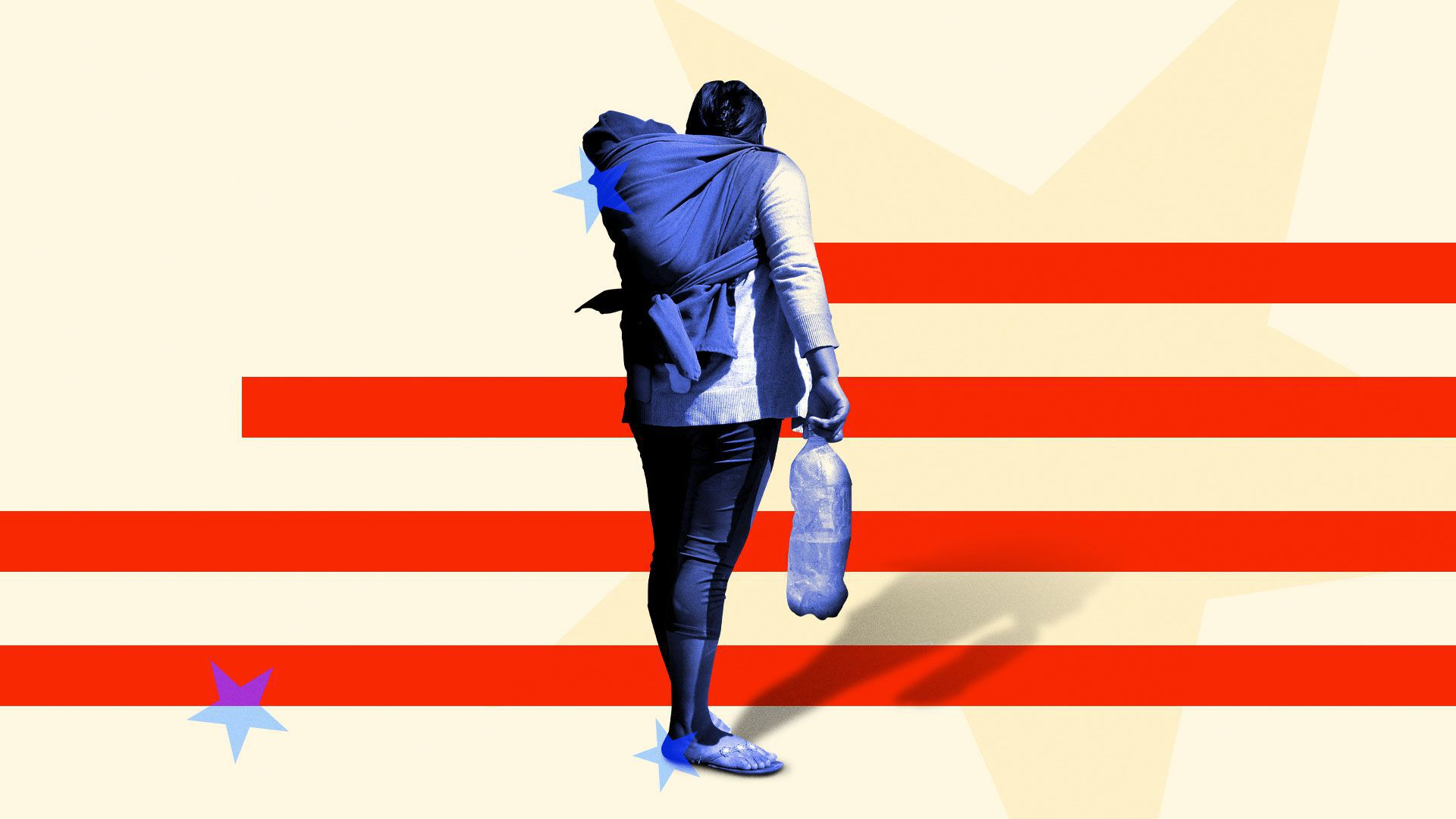 Illustration of a migrant woman with her young child walking towards stars and stripes
