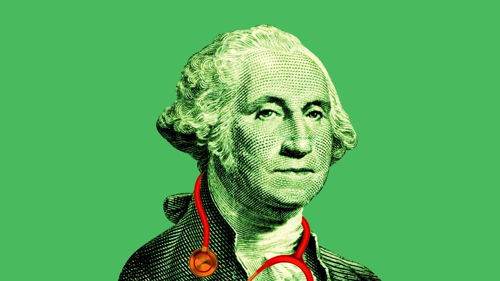 Dollar bill version of George Washington with a stethoscope around his neck