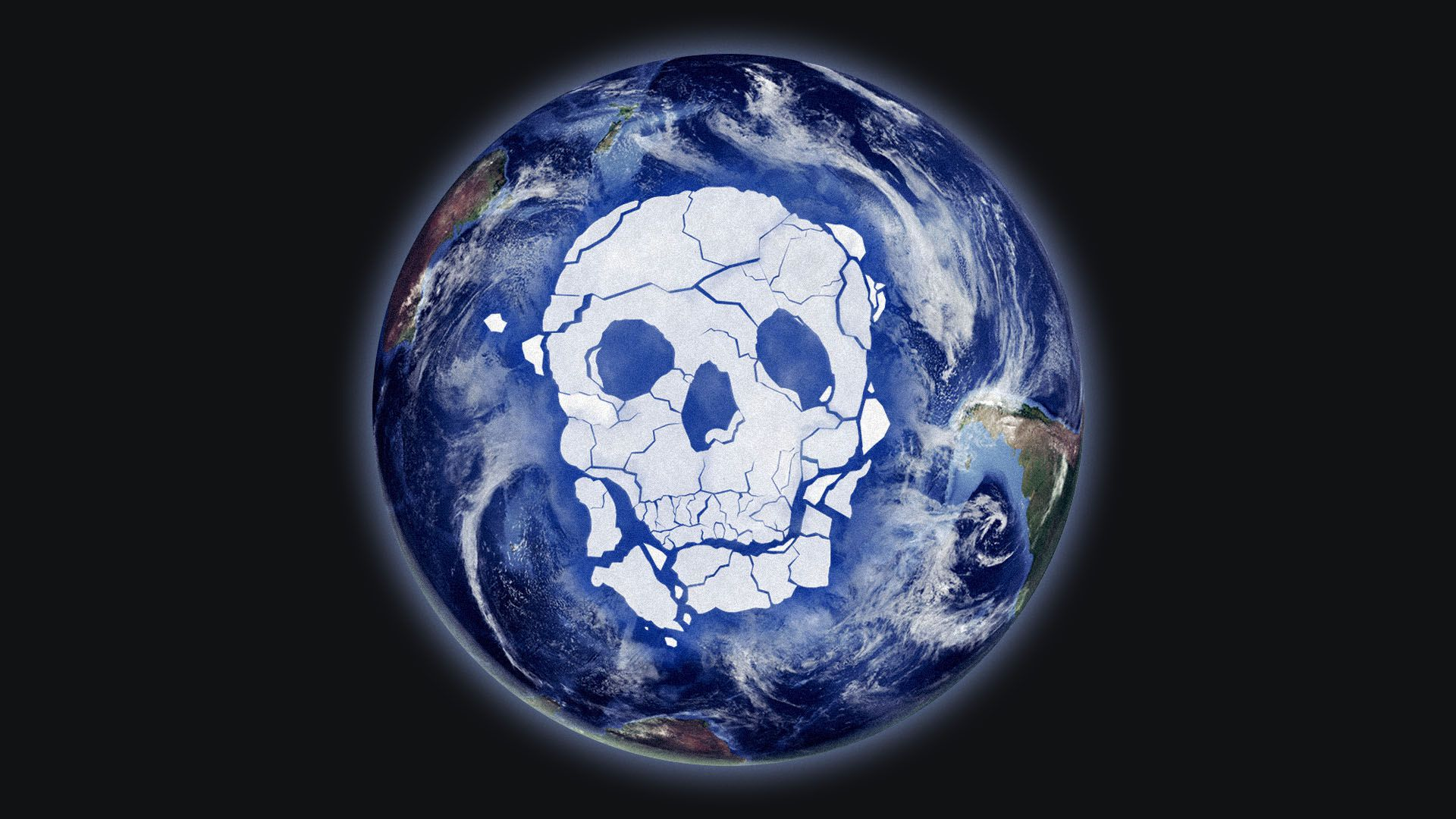 Illustration of the Antarctic ice melted into the shape of a skull.