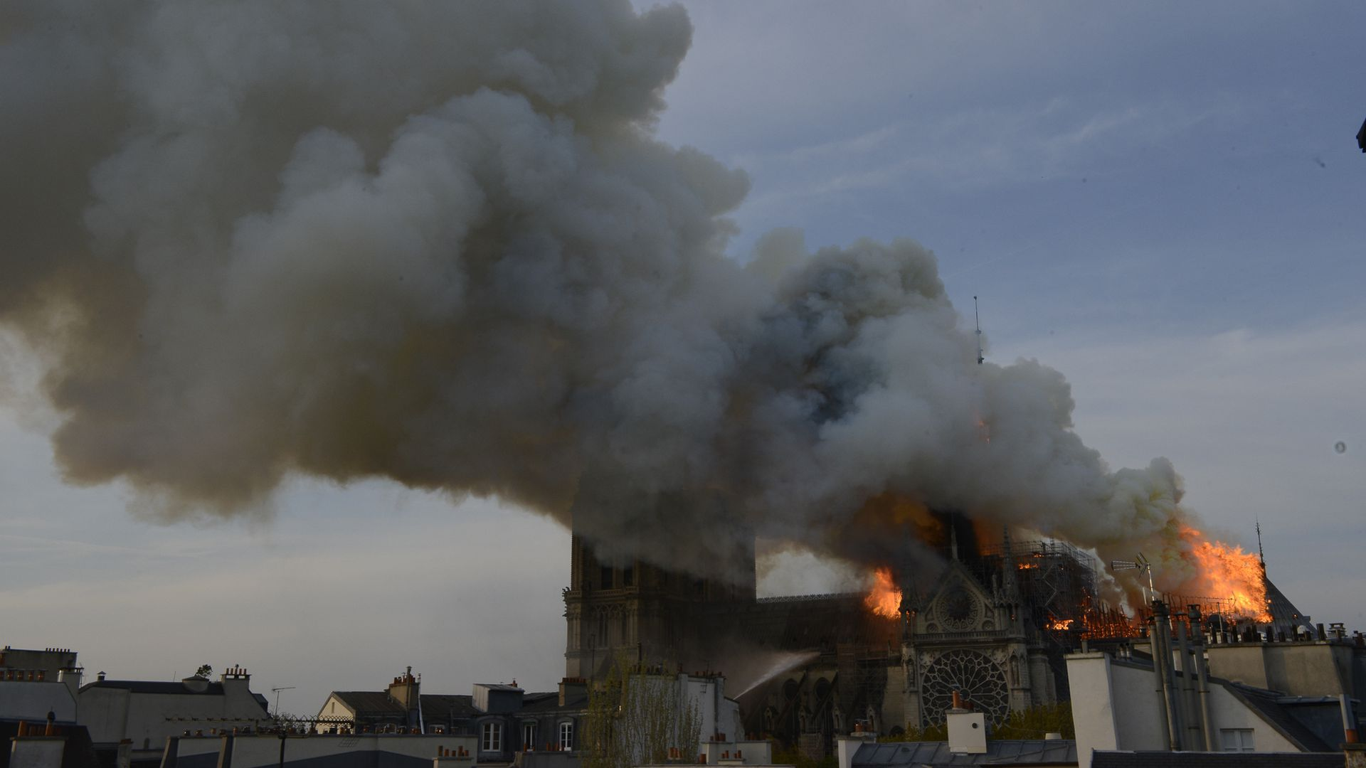 An image of the fire at Notre Dame in Paris
