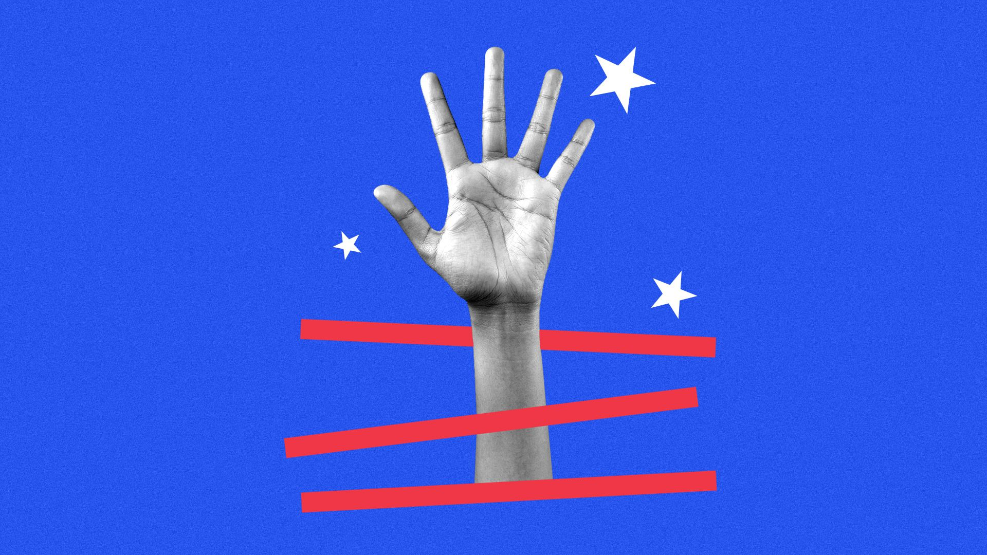 Collage illustration of a hand being raised in question with stars and stripes surrounding it.