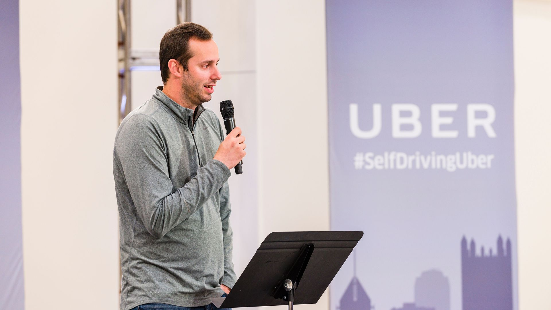 Photo of Anthony Levandowski speaking at an Uber event.