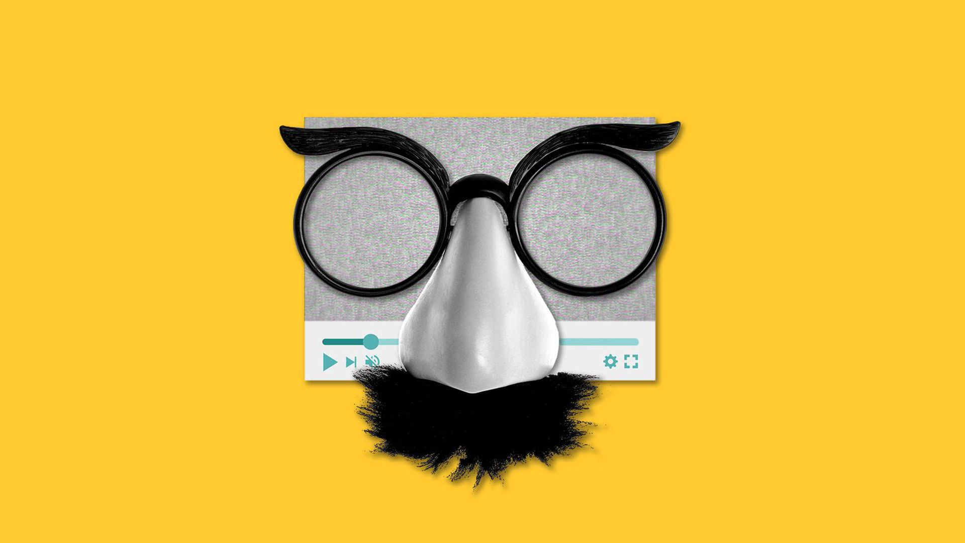 Illustration of a video player displaying static, wearing a Groucho Marx mask