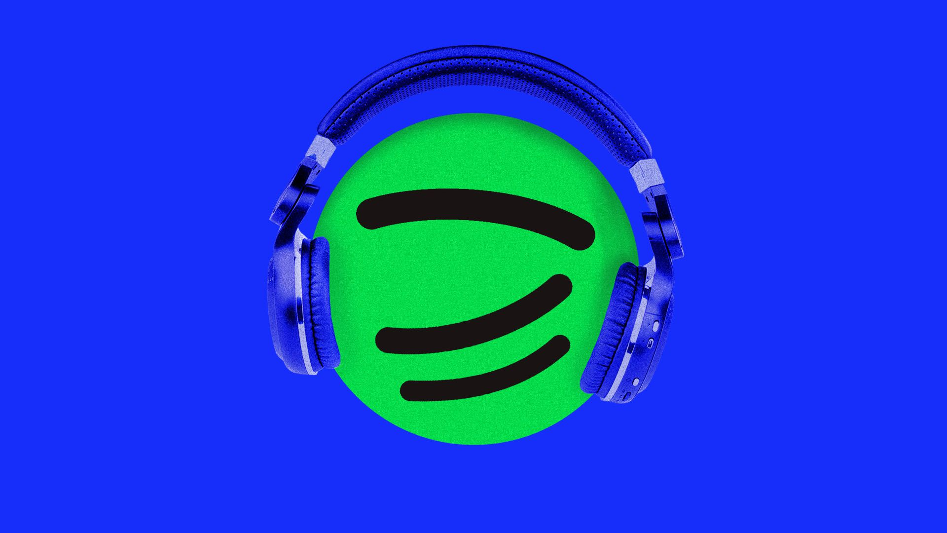 Illustration of podcast symbol with headphones on and smiling