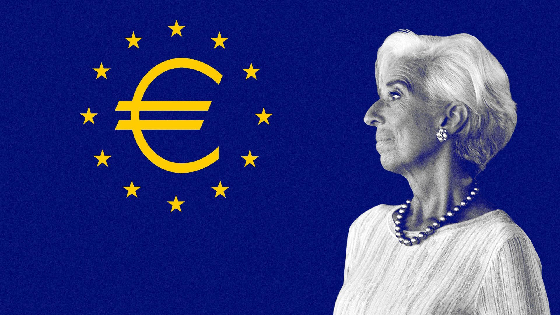 An illustration of Christine Lagarde.