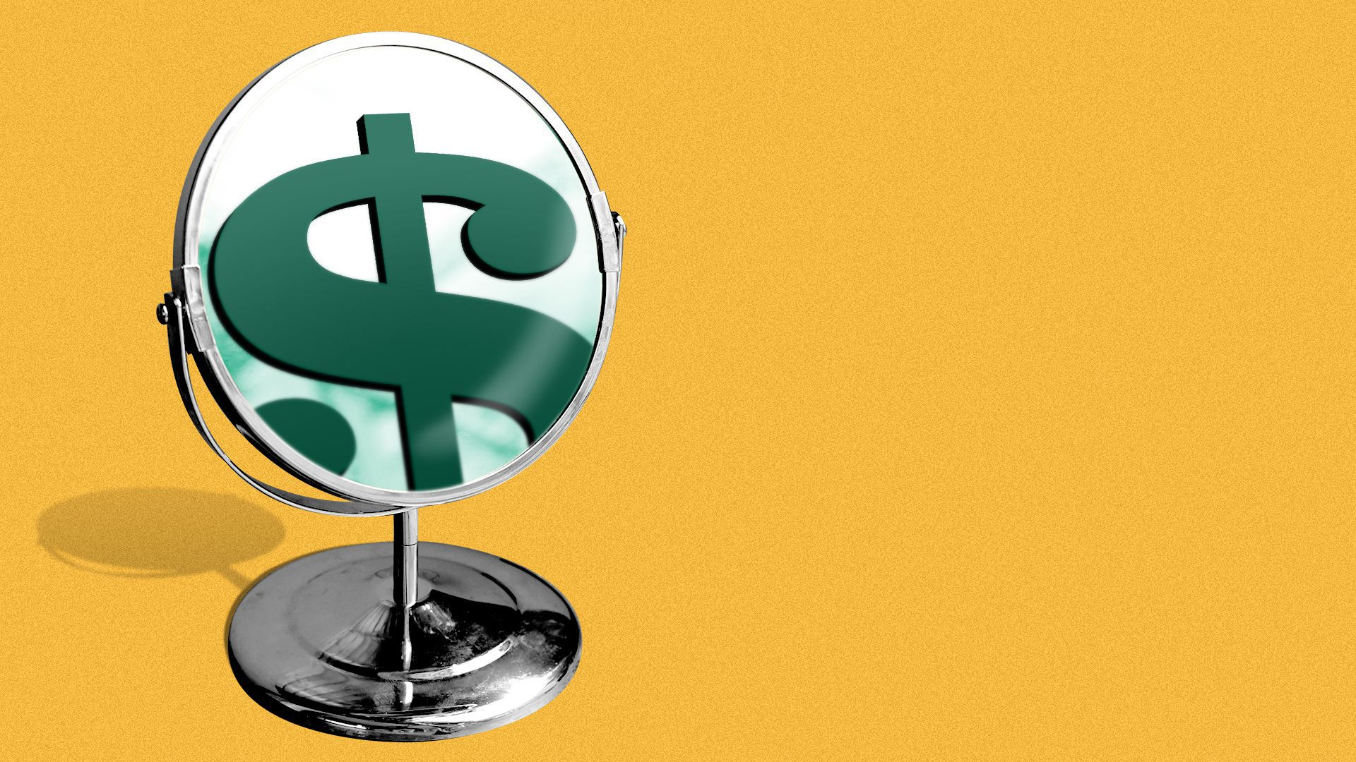 Illustration of a mirror with a dollar sign reflected in it.
