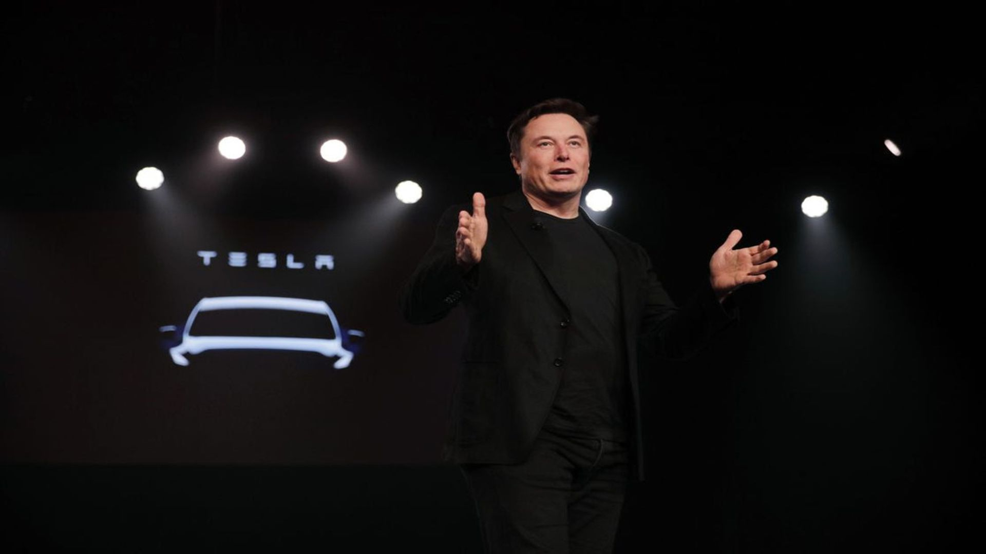 Musk unveils the Model Y at Tesla's design studio in Hawthorne, Calif., in March. Photo: Jae C. Hong/AP