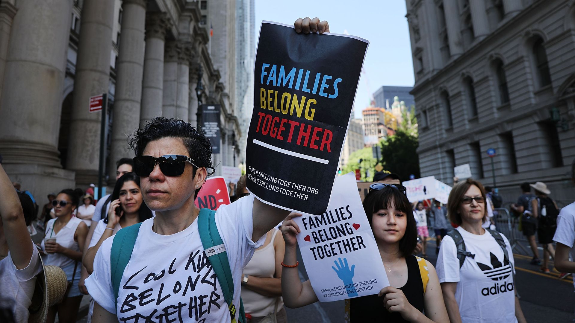 People protesting family separation in June 2018.