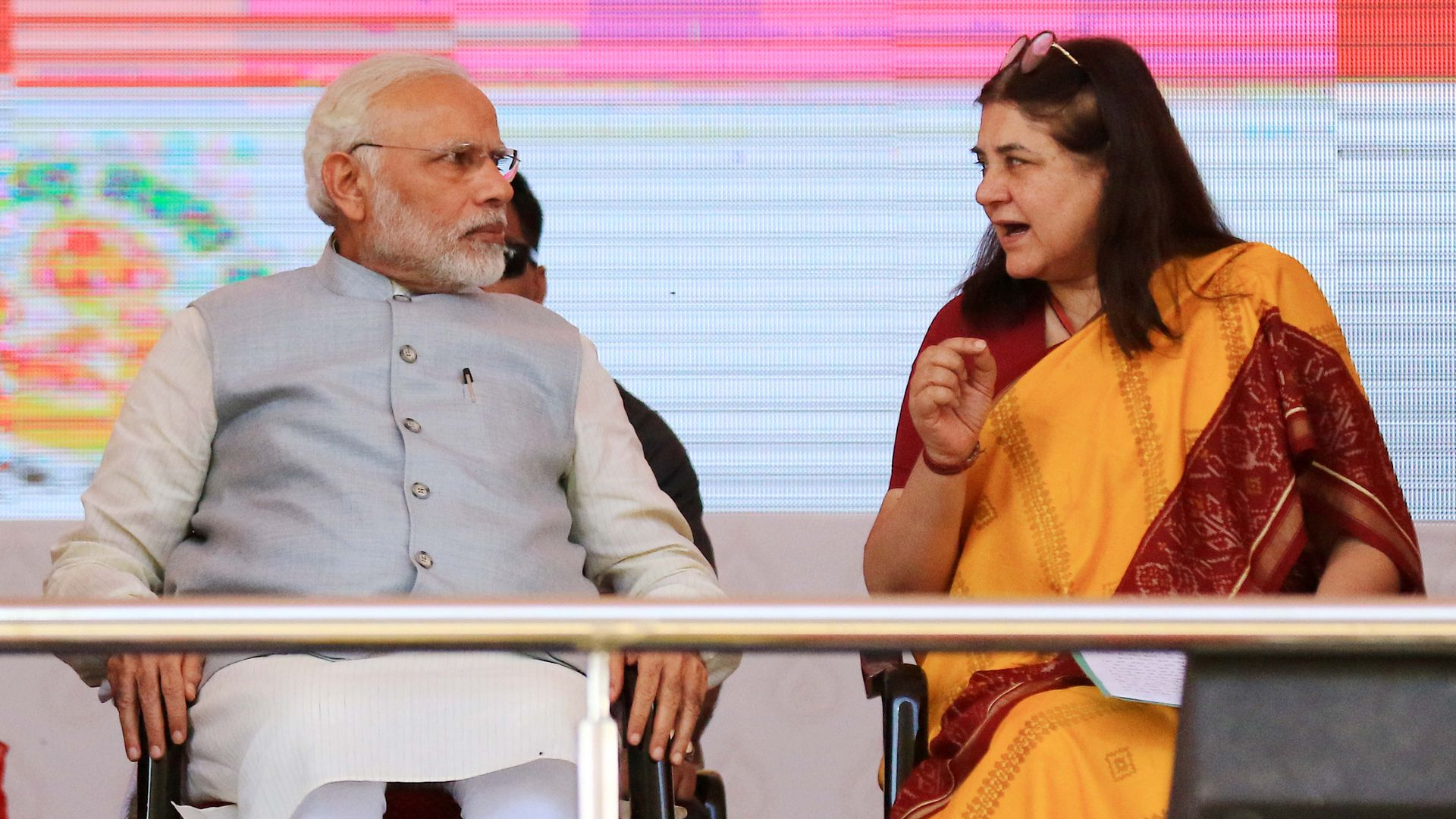 Prime Minister Narendra Modi and Union Minister Maneka Gandhi on International Women's Day