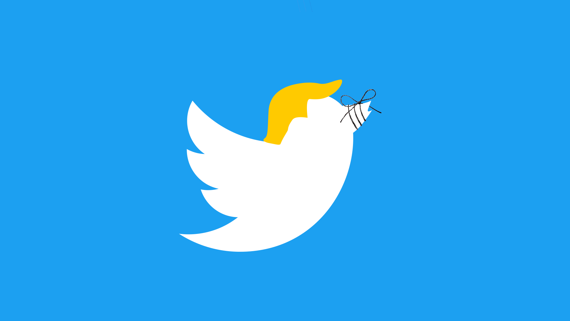Illustration of a Twitter bird with President Trump's hair and a string tied around it's beak.