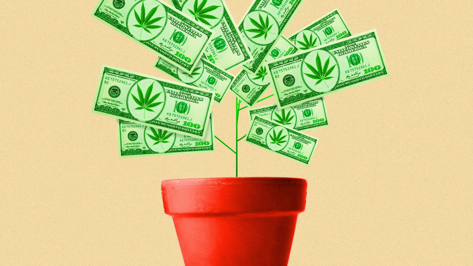 Illustration of a marijuana plant with dollars for leaves