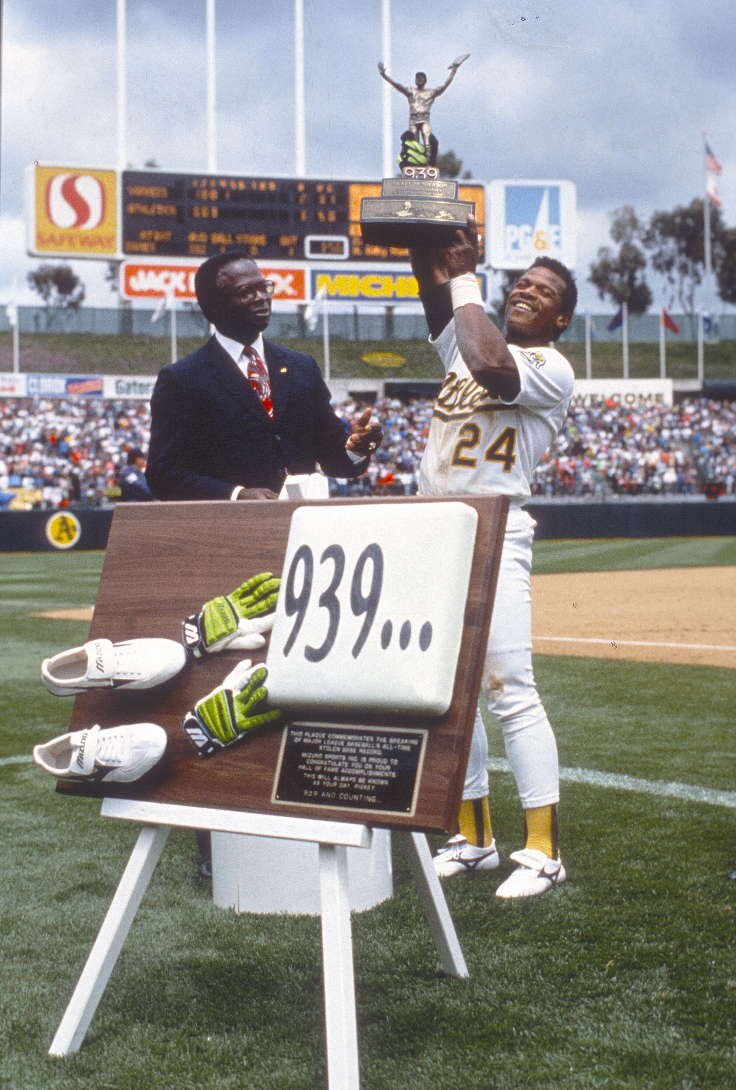 Rickey Henderson on the day he set the stolen base record