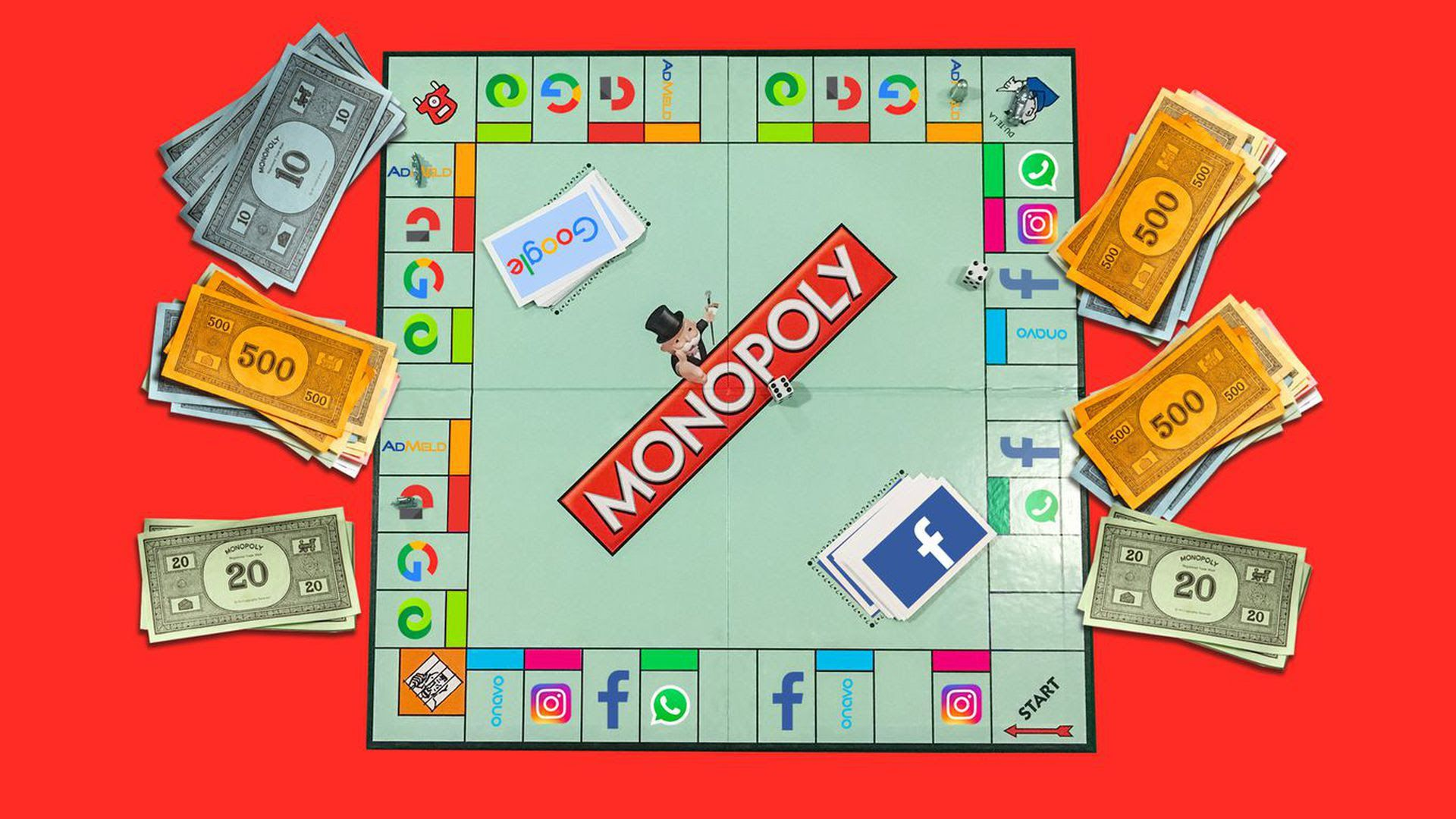 An illustration of a monopoly board with cash laying around it.