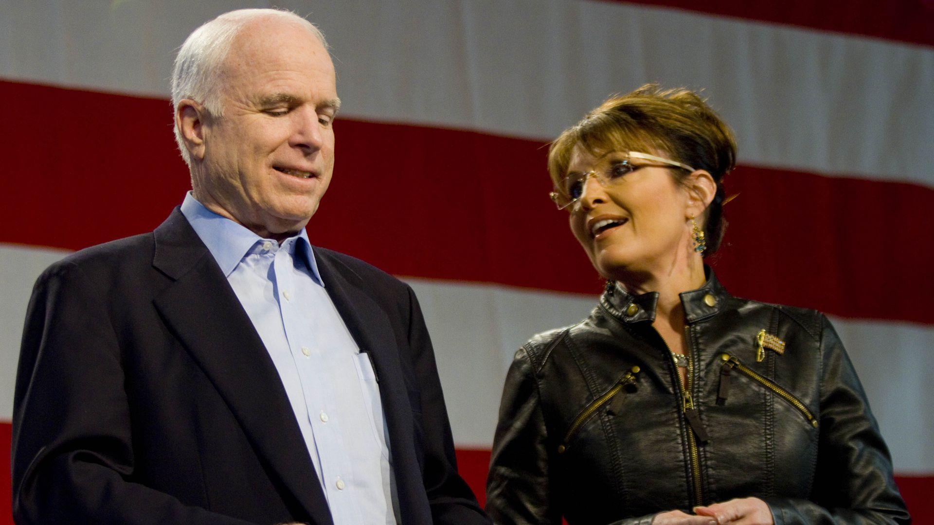 Sen. John McCain (R-AZ) and former Alaska Gov. Sarah Palin at a campaign rally in Tucson, Arizona. Photo by Darren Hauck/Getty Images