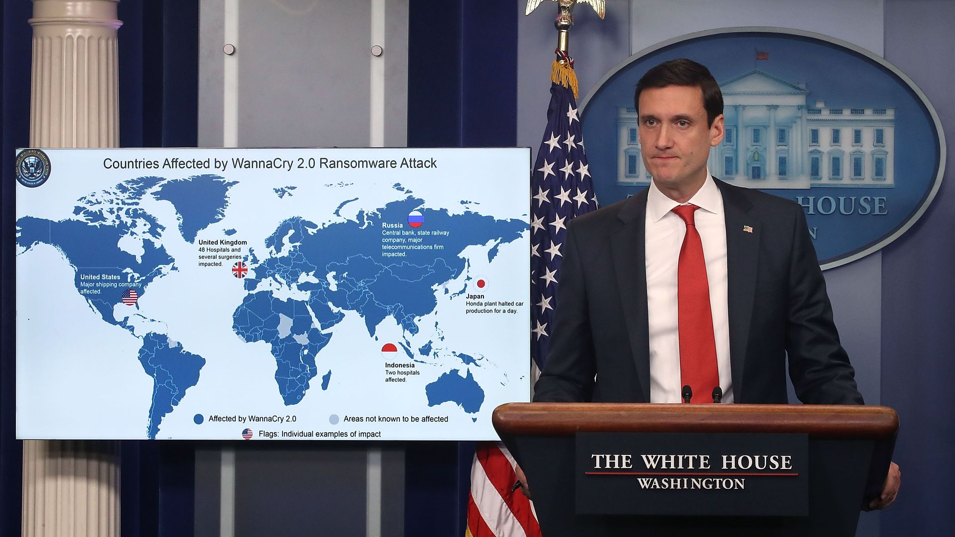 Tom Bossert in the White House briefing room