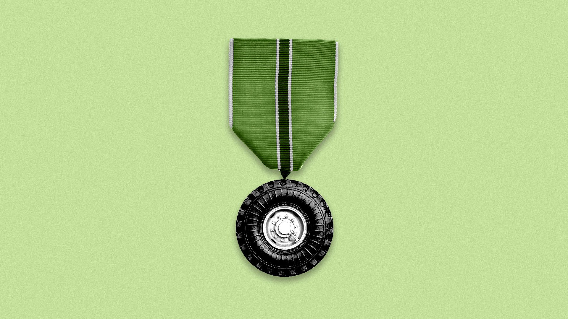Illustration of a hanging military medal with a tire as the medal.